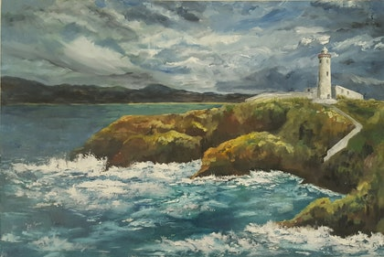 (CreativeWork) The Lighthouse 1  by Jan Sikora. oil-painting. Shop online at Bluethumb.