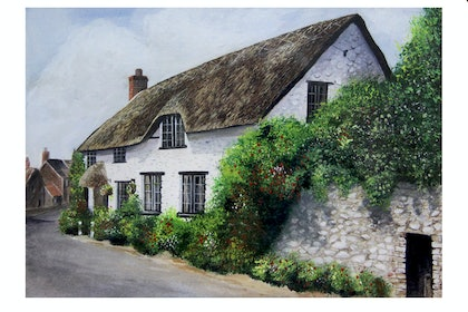 (CreativeWork) Somerset Cottage by Danny Bradley. arcylic-painting. Shop online at Bluethumb.