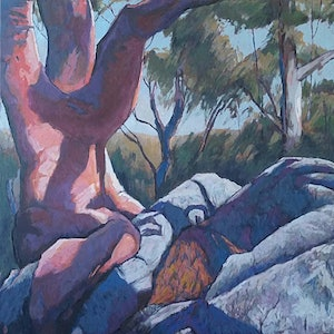 (CreativeWork) Angophora by Mac Monks. arcylic-painting. Shop online at Bluethumb.