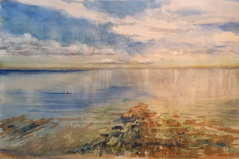 (CreativeWork) Quiet pursuit , Black Rock , Victoria  by Geoff Stanistreet. watercolour. Shop online at Bluethumb.