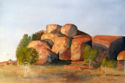 (CreativeWork) The Devil's Marbles by Robyn McNeil. watercolour. Shop online at Bluethumb.