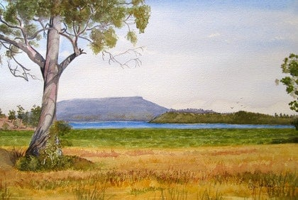 (CreativeWork) Lake Crescent & Table Mountain, Tasmania by Robyn McNeil. watercolour. Shop online at Bluethumb.
