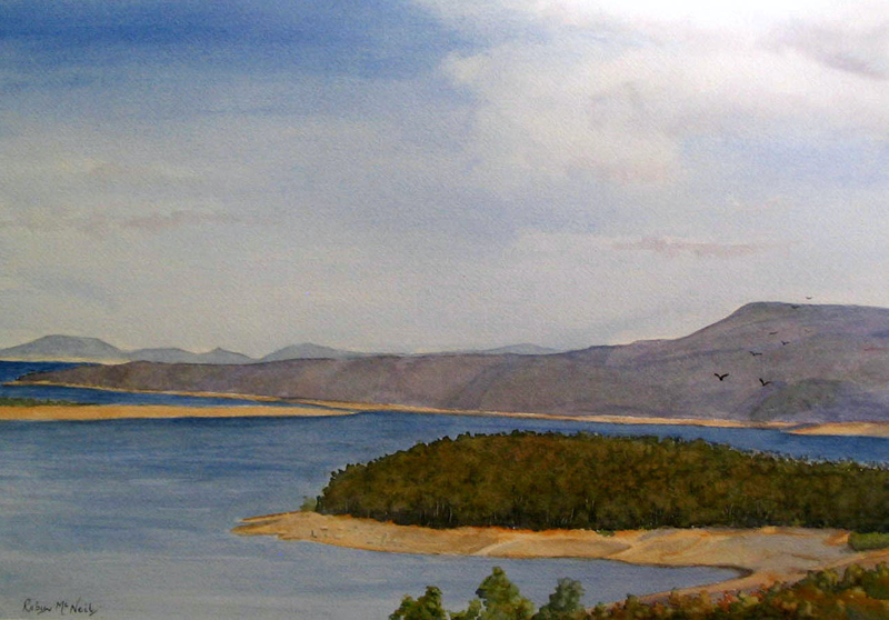 (CreativeWork) Half Moon Bay, Great Lake, Tasmania by Robyn McNeil. watercolour. Shop online at Bluethumb.