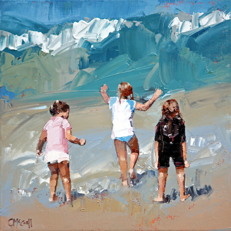 (CreativeWork) Braving The Waves by Claire McCall. oil-painting. Shop online at Bluethumb.