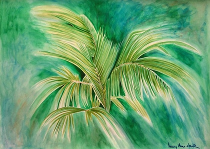 (CreativeWork) Giant Window Pane Palm by Tracey Anne O'Mara. watercolour. Shop online at Bluethumb.