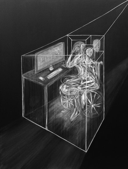 (CreativeWork) Paralysing Confinement by Jordan Devlin. arcylic-painting. Shop online at Bluethumb.