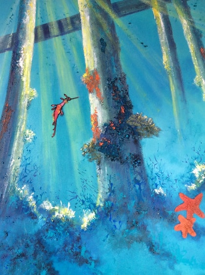 (CreativeWork) Beneath the surface by Marilyn Townsend. mixed-media. Shop online at Bluethumb.
