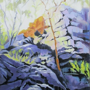 (CreativeWork) Off the Old North Road by Janelle White. Oil Paint. Shop online at Bluethumb.