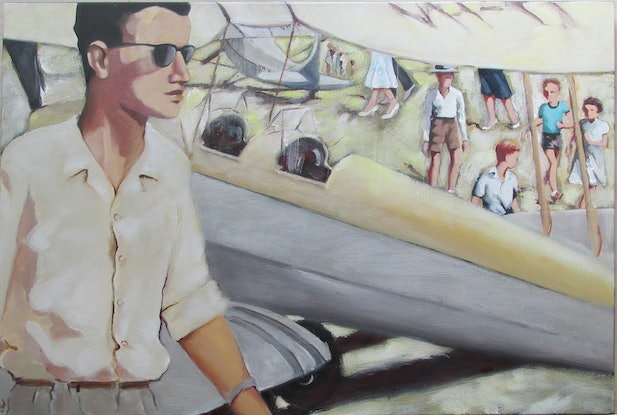 (CreativeWork) The Aerodrome 1960 by Janelle White. Acrylic Paint. Shop online at Bluethumb.