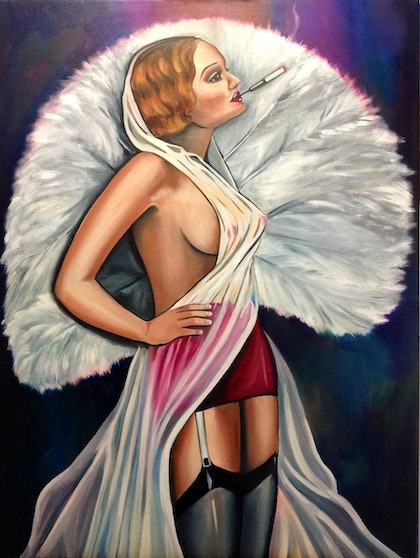 (CreativeWork) Ziegfeld Girl by Melody Wain. oil-painting. Shop online at Bluethumb.