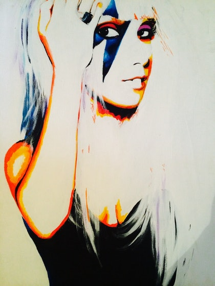 (CreativeWork) Lady Gaga by Caitlin Broderick. arcylic-painting. Shop online at Bluethumb.
