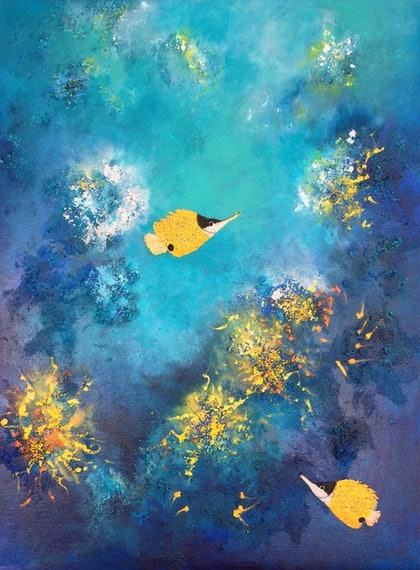 (CreativeWork) Reef butterfly fish  by Marilyn Townsend. mixed-media. Shop online at Bluethumb.