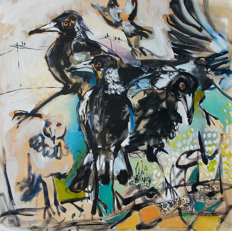 (CreativeWork) Magpies by Katerina Apale. oil-painting. Shop online at Bluethumb.