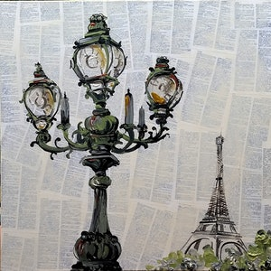 (CreativeWork) Paris Lampost by Nicole Hunt. mixed-media. Shop online at Bluethumb.