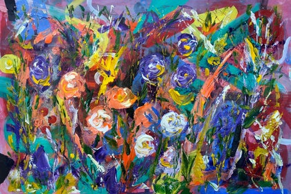 (CreativeWork) Wildflower Series #6 by Rowena Beale. arcylic-painting. Shop online at Bluethumb.