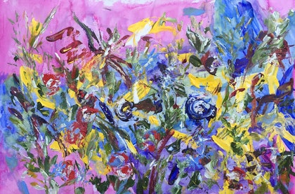 (CreativeWork) Wildflower Series # 7 by Rowena Beale. arcylic-painting. Shop online at Bluethumb.