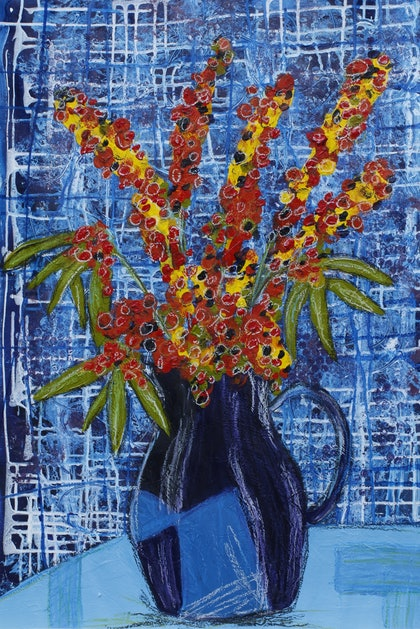 (CreativeWork) Blue Blue Blue with Flowers by Rowena Beale. arcylic-painting. Shop online at Bluethumb.