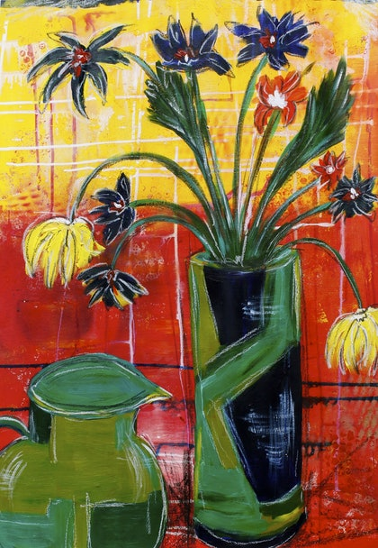 (CreativeWork) Flowers with Red/Yellow Background by Rowena Beale. arcylic-painting. Shop online at Bluethumb.