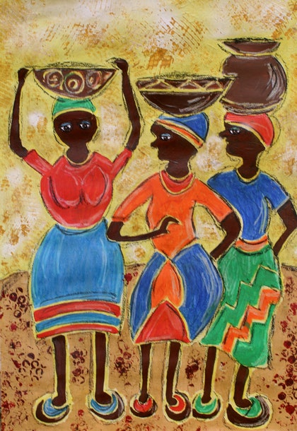 (CreativeWork) Happy Water Carriers by Rowena Beale. arcylic-painting. Shop online at Bluethumb.