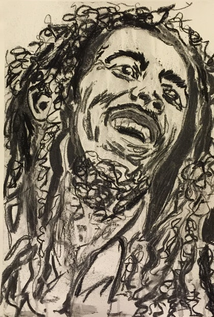 (CreativeWork) The Icon Series - Bob Marley by Rowena Beale. drawing. Shop online at Bluethumb.