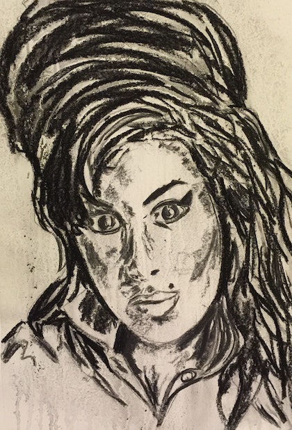 (CreativeWork) The Icon Series - Amy Winehouse by Rowena Beale. drawing. Shop online at Bluethumb.