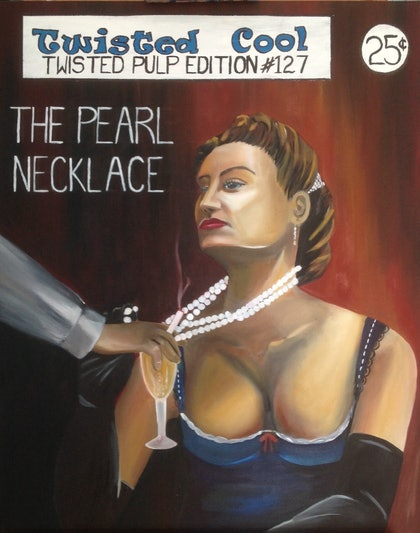 (CreativeWork) The Pearl Necklace by Melody Wain. oil-painting. Shop online at Bluethumb.