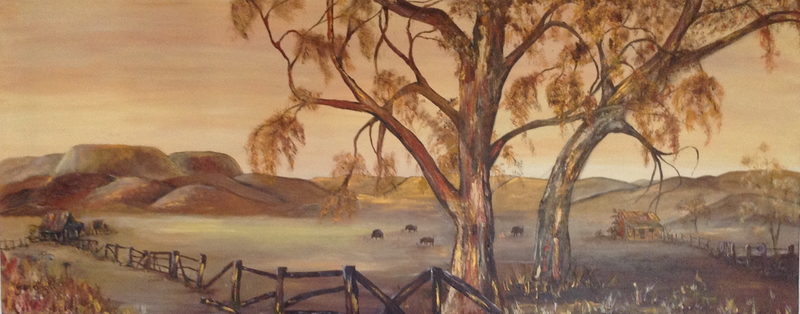 (CreativeWork) Dusty Outback Cattle Station  by Gabriele Jenkins. arcylic-painting. Shop online at Bluethumb.