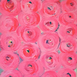 (CreativeWork) Silver Roses by Anne Armstrong. arcylic-painting. Shop online at Bluethumb.