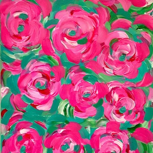 (CreativeWork) Vintage Bunch of Roses by Anne Armstrong. arcylic-painting. Shop online at Bluethumb.