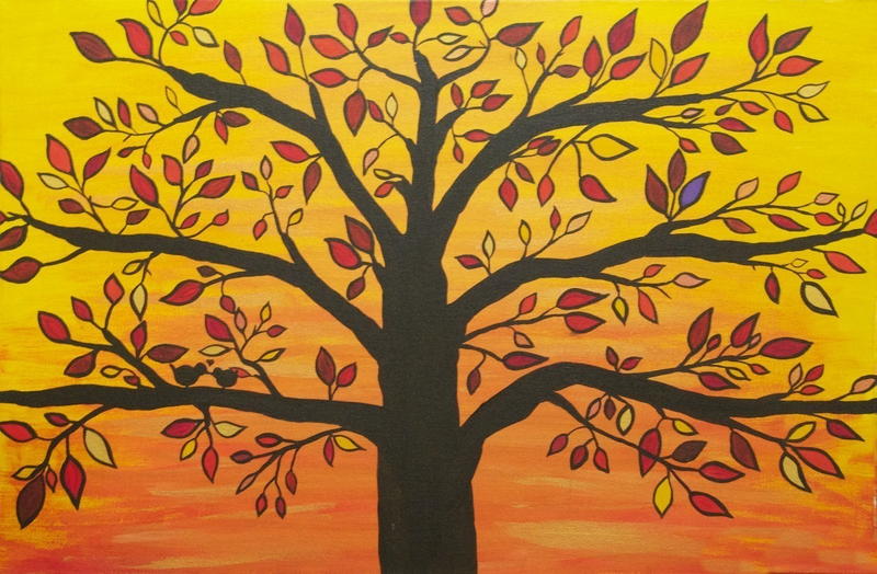 (CreativeWork) Autumn Tree of Life by Emelie Coffey. arcylic-painting. Shop online at Bluethumb.