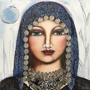 (CreativeWork) Gypsy Priestess by Denise Daffara. arcylic-painting. Shop online at Bluethumb.