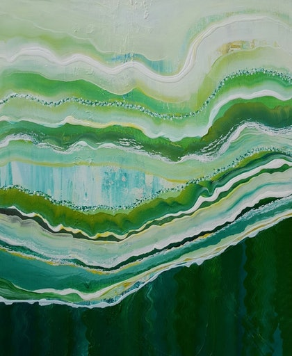 (CreativeWork) Emerald Terrain 1 by Tracey Haustead. arcylic-painting. Shop online at Bluethumb.