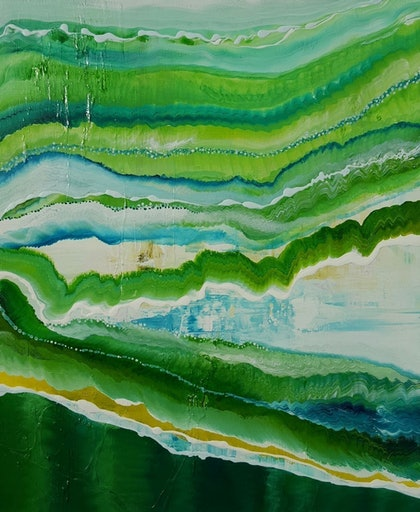 (CreativeWork) Emerald Terrain 2 by Tracey Haustead. mixed-media. Shop online at Bluethumb.