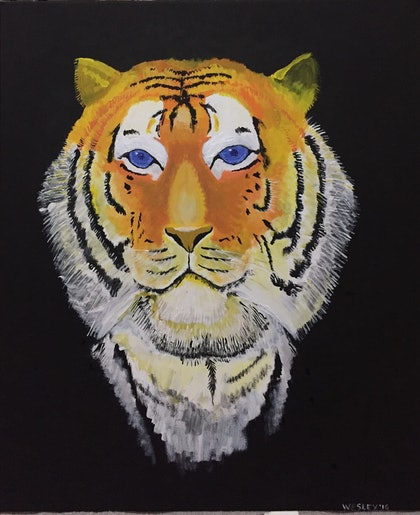 (CreativeWork) Tiger in the dark by Wesley Camigla. arcylic-painting. Shop online at Bluethumb.