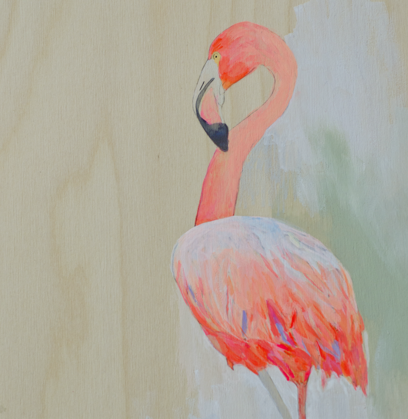 (CreativeWork) Flamingos II  by Lydie Paton. oil-painting. Shop online at Bluethumb.