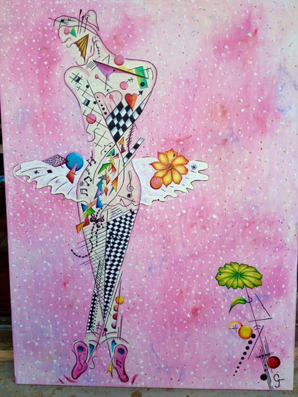 (CreativeWork) ballerina  by GREGORY jordan. oil-painting. Shop online at Bluethumb.