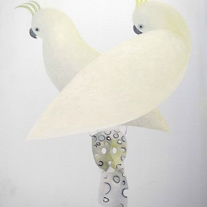 (CreativeWork) Two Cockatoo  by John Graham. oil-painting. Shop online at Bluethumb.