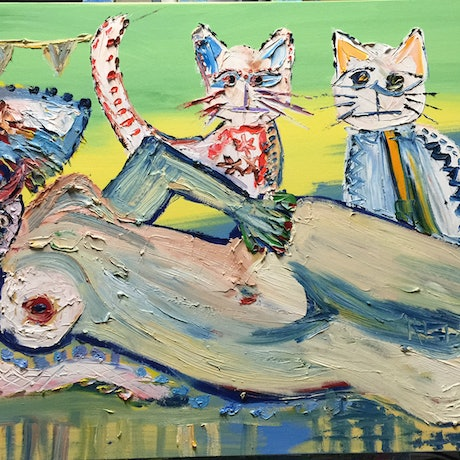 (CreativeWork) Cancun Mexican Fiesta Cats by ZYL ZYLBAT. Oil Paint. Shop online at Bluethumb.