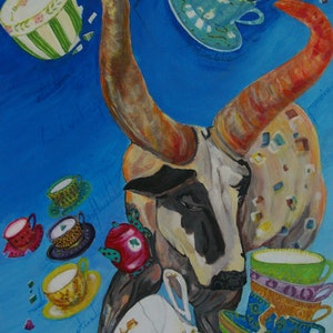 (CreativeWork) TAURUS    April 20th - May 20th  (From the ZODIAC  birthday series)  SALE  PRICE by Lesley Taylor. arcylic-painting. Shop online at Bluethumb.