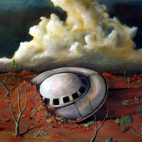 (CreativeWork) Alien Landscape by Tank .. Oil Paint. Shop online at Bluethumb.