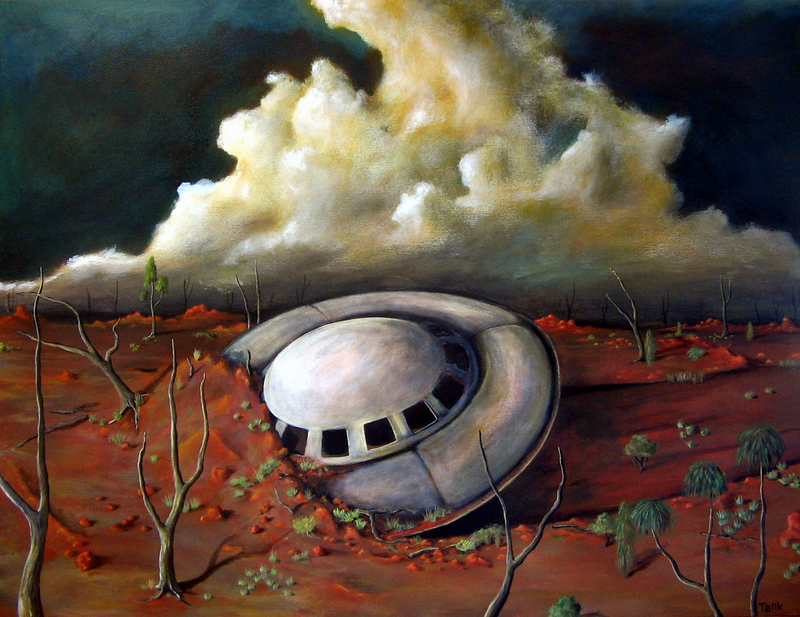 (CreativeWork) Alien Landscape by Tank .. oil-painting. Shop online at Bluethumb.