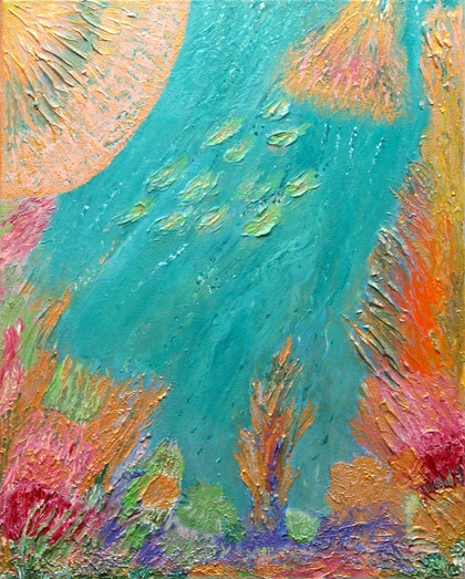 (CreativeWork) Coral Garden by Kim Sayers. arcylic-painting. Shop online at Bluethumb.