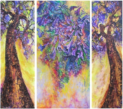 (CreativeWork) Rococo triptych by De Gillett. arcylic-painting. Shop online at Bluethumb.