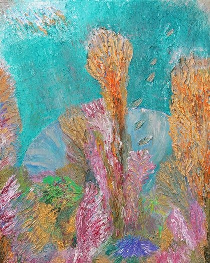 (CreativeWork) Golden Reef by Kim Sayers. arcylic-painting. Shop online at Bluethumb.