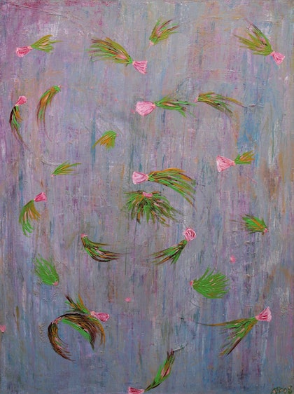 (CreativeWork) Flying Blossoms by Kim Sayers. arcylic-painting. Shop online at Bluethumb.