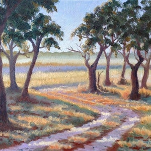 (CreativeWork) Sunrise, Mary River Park, NT by Julie Cane. oil-painting. Shop online at Bluethumb.