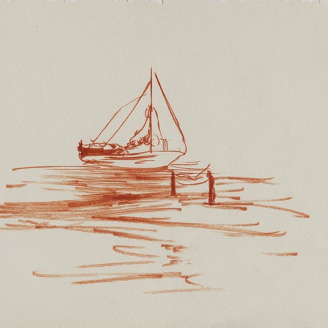(CreativeWork) Yacht on Water  by Tom Ansell. Drawings. Shop online at Bluethumb.