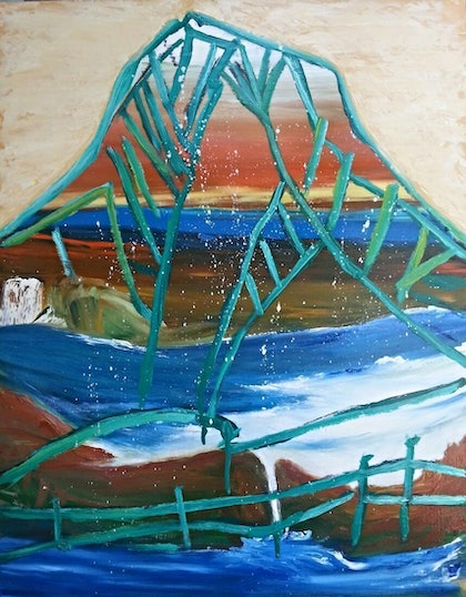 (CreativeWork) Glasshouse Mountain with a coastal view. by Anthony Marshall. oil-painting. Shop online at Bluethumb.