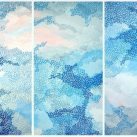 (CreativeWork) Pointillist Clouds IV by Sarah Daly. Acrylic Paint. Shop online at Bluethumb.