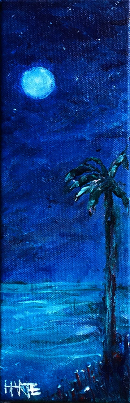 (CreativeWork) Moonlight Palm by Peter Harte. arcylic-painting. Shop online at Bluethumb.